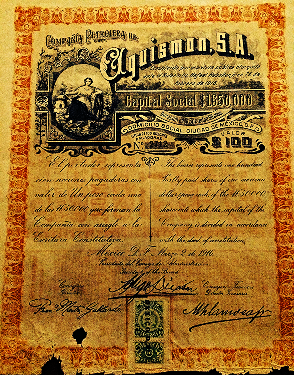 100 shares of Aquismon Petroleum Corporation, issued on May 2 1916.