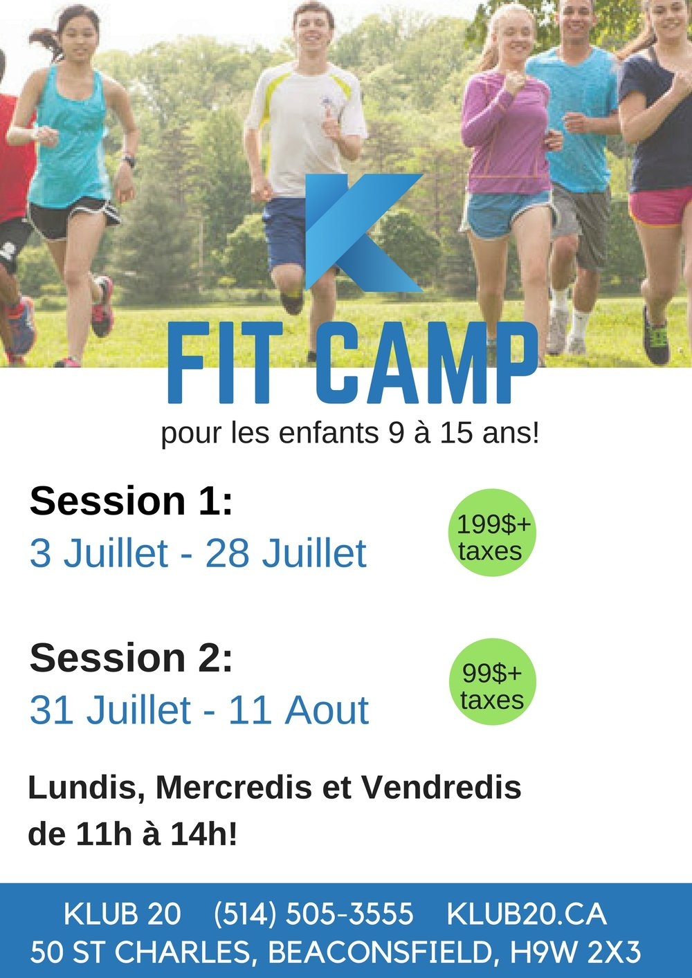 fit camp for kids and teens klub 20 west island gym