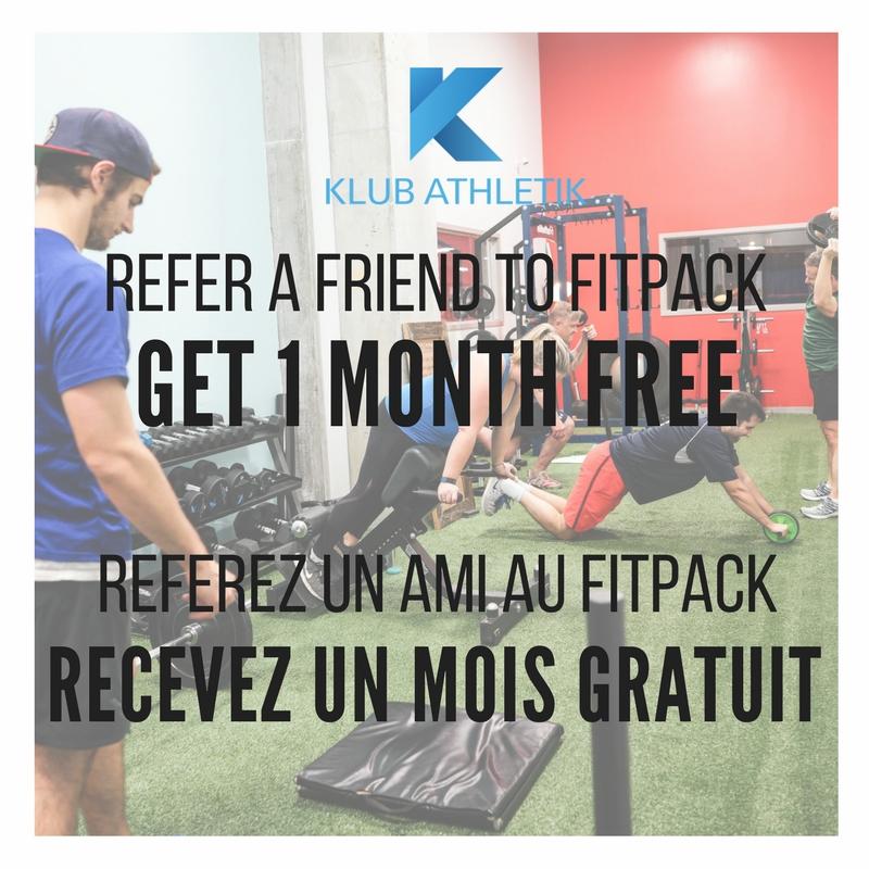 Refer a friend to Fitpack before February 28th and get 1 month free on your gym membership!  Réferez un ami au Fitpack avant le 28 février et recevez un mois gratuit sur votre abonnement de gymnase!