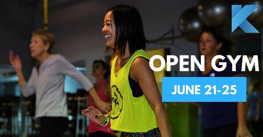 open gym june 21-25 happy zumba class