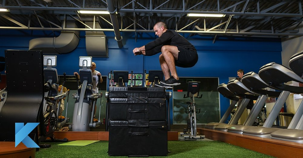 man jumping on plyo boxes functional training area beaconsfield