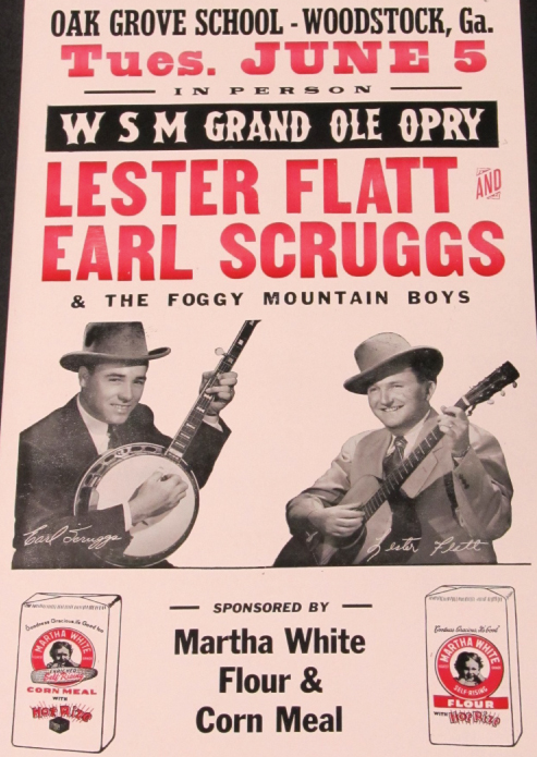 From the Archives:  Concert poster for Flatt & Scruggs, sponsored by Martha White Flour & Corn Meal.