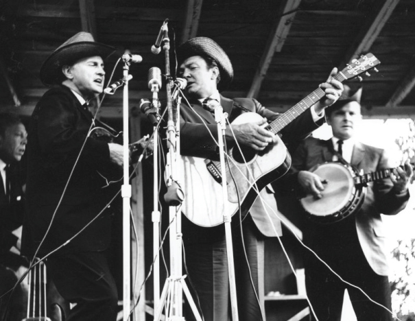 From the Archives:  George Shuffler, Bill Monroe, Carter Stanley and Ralph Stanley at Fincastle Virginia, 1965.   Photo by Ron Petronko.