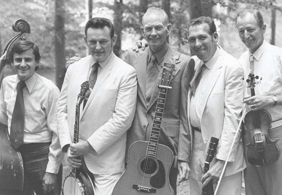 From the Archives:  Jerry McCoury, Don Reno, Red Smiley, Bill Harrell and Buck Ryan at Bean Blossom in 1971. Photo by Ron Petronko.