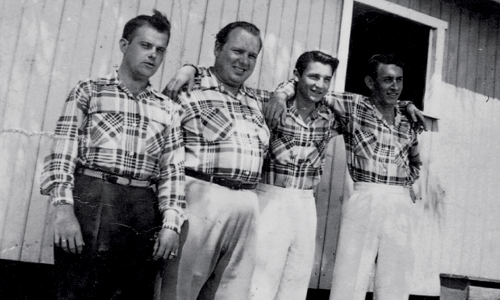 From the Archives:  Mac Wiseman and the Country Boys - L-R:Chubby Collier; Mac Wiseman; Wade Macey (age 17); Enos Johnson - 1953.  Photo donated by Wade Macey.