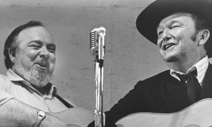 From the Archives:  Mac Wiseman and Lester Flatt at Bean Blossom in 1971.  Photo by Ron Petronko.