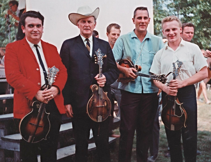 From the Archives:  Bobby Osborne, Bill Monroe, John Duffey, and Ronnie Reno in Fincastle, VA- 1966.    Photo by Ron Petronko.