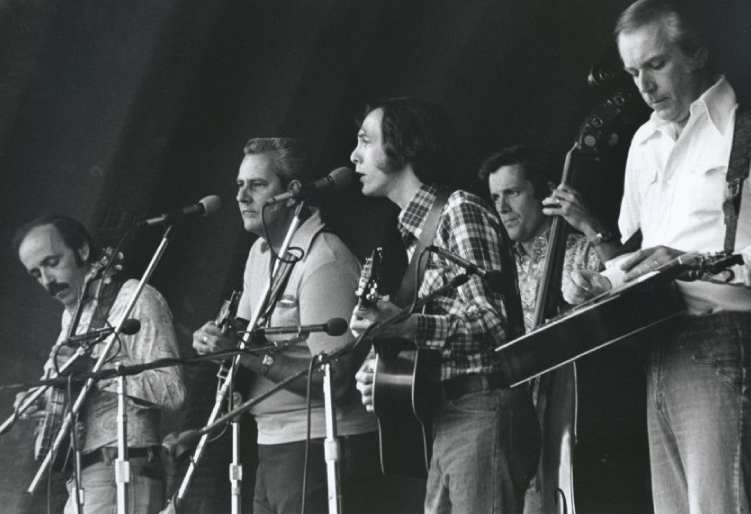 From the Archives:  Seldom Scene (L-R) Ben Eldridge, John Duffy, Phil Rosenthal, Tom Gray and Mike Auldridge at the Berkshire Mountains Festival in Ancramdale, New York late 1970's.    Photo by Ron Petronko.