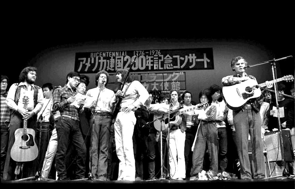 From the Archives:  Doc and Merle Watson.  Doc Watson came to Japan to celebrate 200 years of US independence in Tokyo.  Photo by Nobuharu Komoriya.
