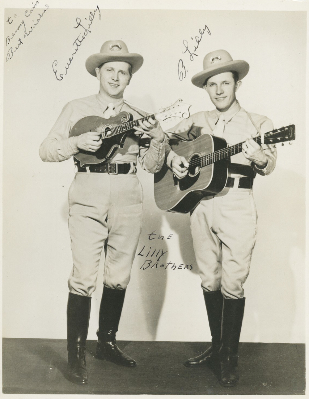 From the Archives: Everett and Bea Lilly autographed photo to Benny Cain.  Donated by Benny Cain.
