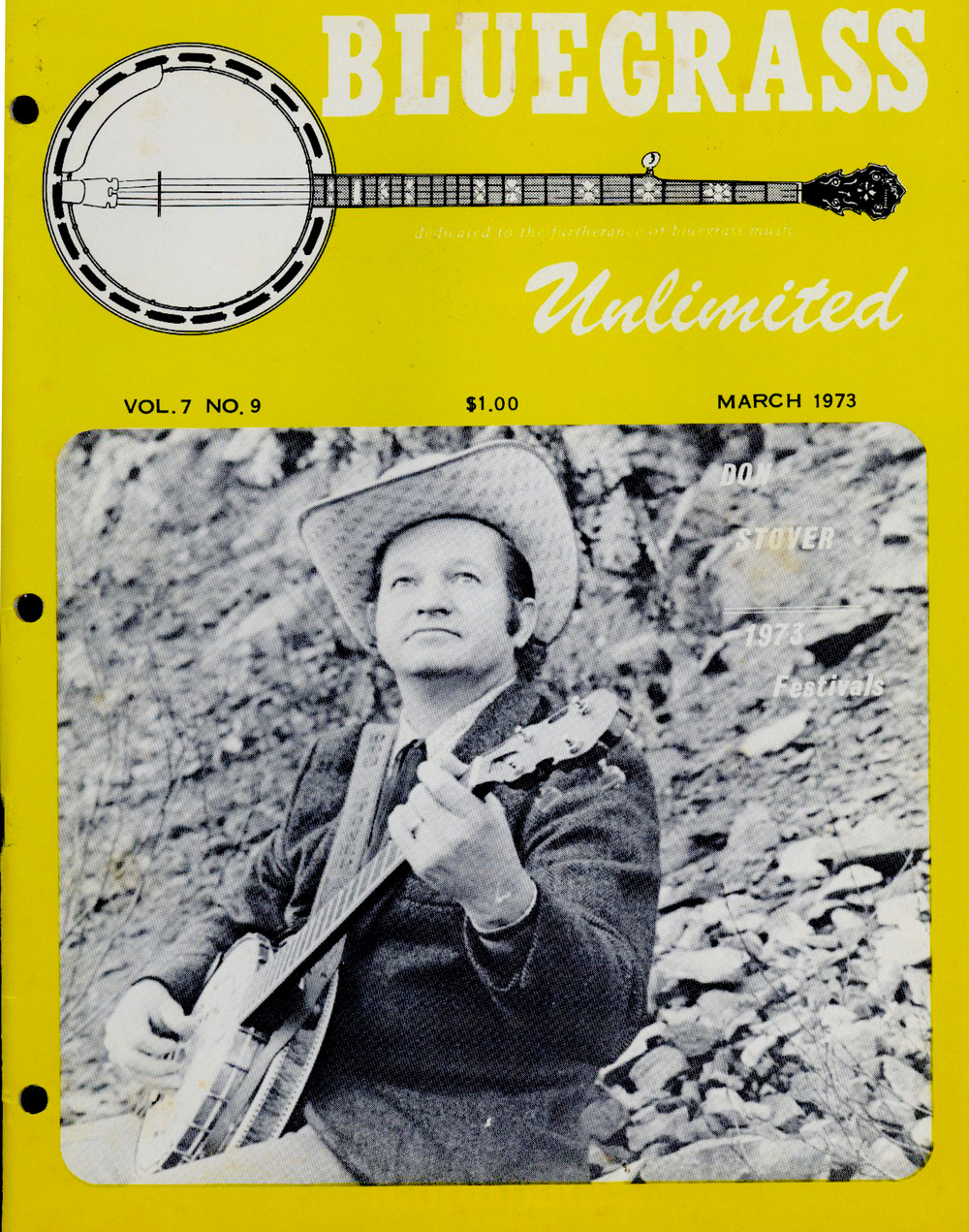 "From the Archives:  Contents: editorials; ""1973 Summer Festival Schedule""; ""Big Banjo from Boston: The Don Stover Story"" by Jack Tottle, includes a black and white photograph; ""Bluegrass Unlimited Merit Award: Fay McGinnis"" by Pat Mahoney, includes a black and white photograph; record reviews and advertisements; ""The Country Gentlemen and The U.S. Navy Band"" by Barbara Taylor; ""General Store""; ""Forgotten But Not Gone: Connie and Babe and the Backwoods Boys"" by Douglas Green, includes several black and white photographs; ""Strings 'n Things: Bluegrass Instruments:  Original vs. Reproduction: Gibson F-5 Mandolins"" by George Gruhn (with Douglas Green); schedules of events and personal appearances; classified ads.   From the museum's Bluegrass Unlimited collection."