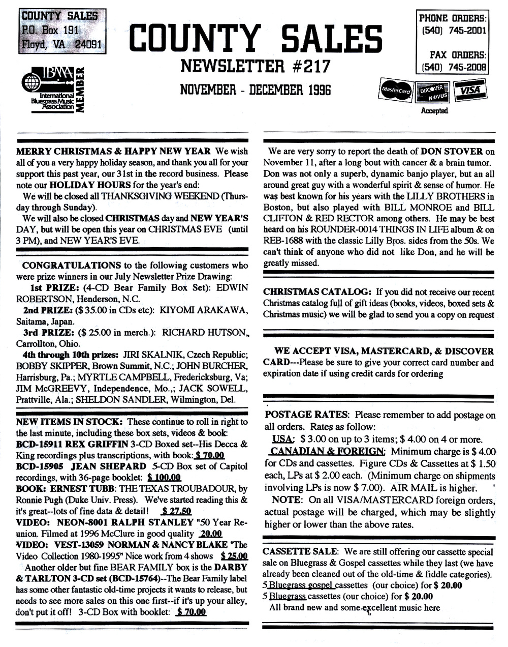From the Archives:  County Sales Newsletter # 217.  Nov./Dec. 1996.   Donated by Ron Green.