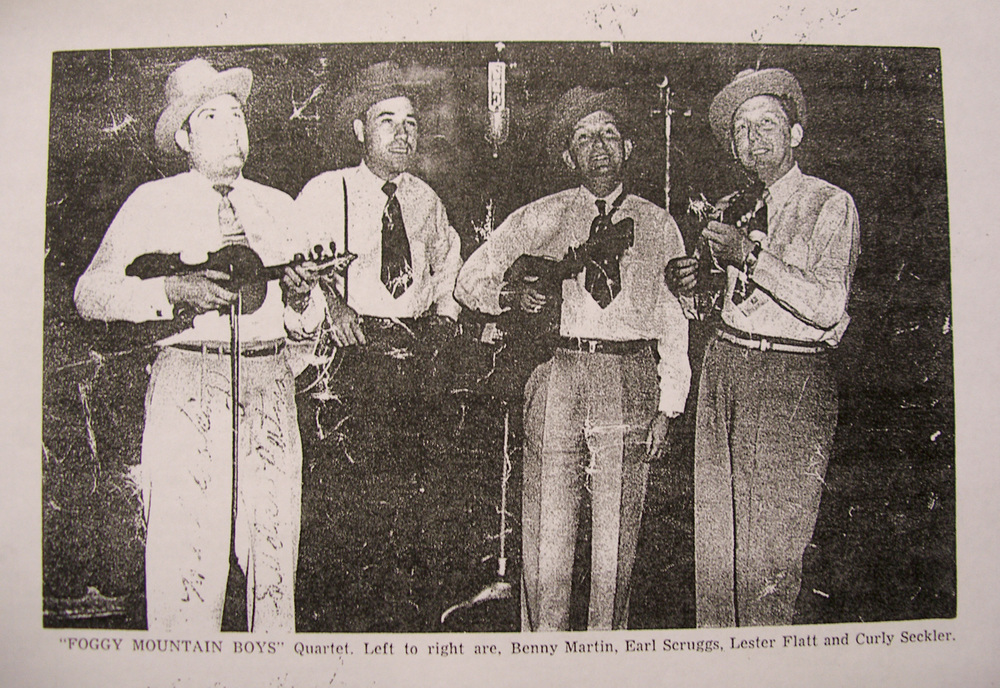 From the Archives:  Foggy Mountain Boys Quartet.  Left to right are Benny martin, Earl Scruggs, Lester Flatt and Curly Seckler.  Donated by Bill Morrison.