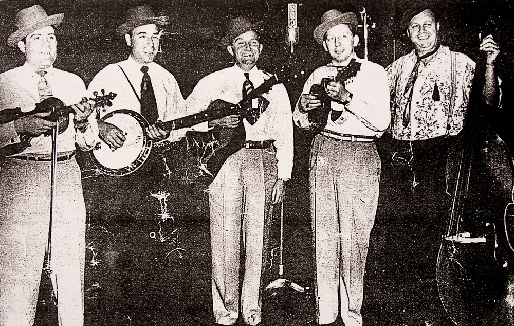 From the Archives:  Foggy Mountain Boys getting ready for Radio Broadcast.   Donated by Bill Morrison.
