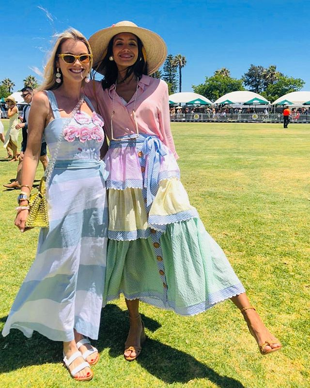 Our prettiest polo ponies XXX Team @binnywear  @polointhecity @landroveraus @natdecorte @cloveraccessories 'Sweet William' dress & 'David Austin' skirt #highgoal XXX 🐎🐎🐎🥂🥂🥂