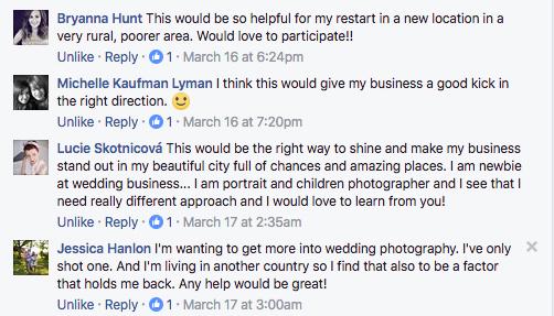 ecourse facebook comments