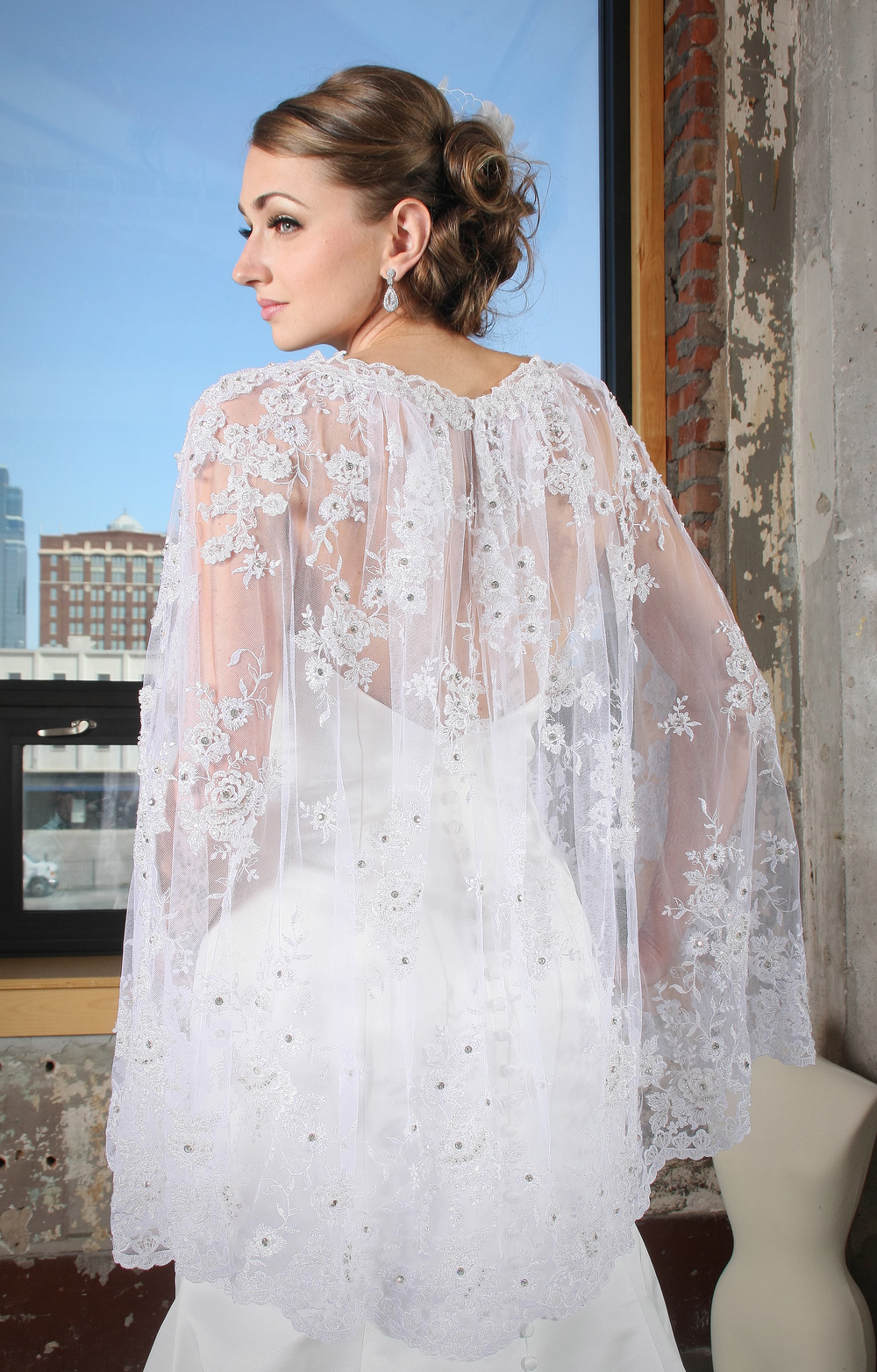"Lace Bridal Wrap "" Angelic"", handmade with Czech stones."