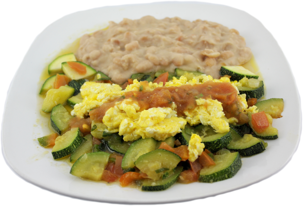 Calabacitas  Your style egg topped over fresh bed of zucchini. $7.99