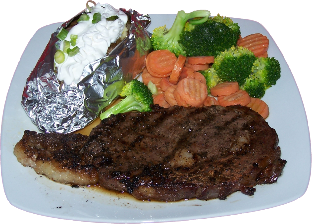 Rib Eye Steak  A think, juicy rib eye steak season with pepper and grilled just right. $23.99