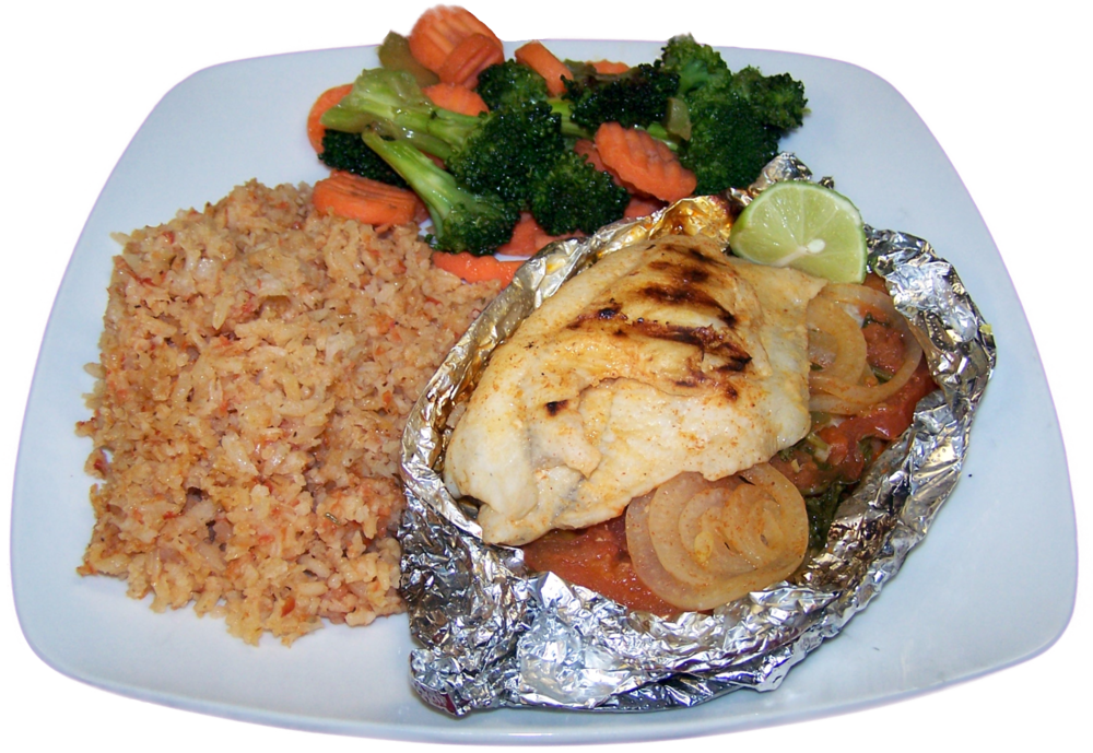 Grilled Catfish  Catfish grilled in foil with onions, tomatoes, cilantro and jalapenos. $21.99