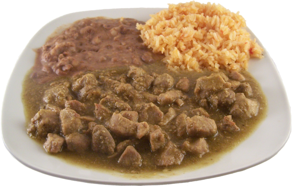 Chile Verde  Diced pork in a tangy green tomatillo sauce. $17.49