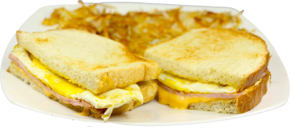 Ham & Egg Melt  Scrambled eggs topped with ham, American cheese on grilled sourdough bread $9.29