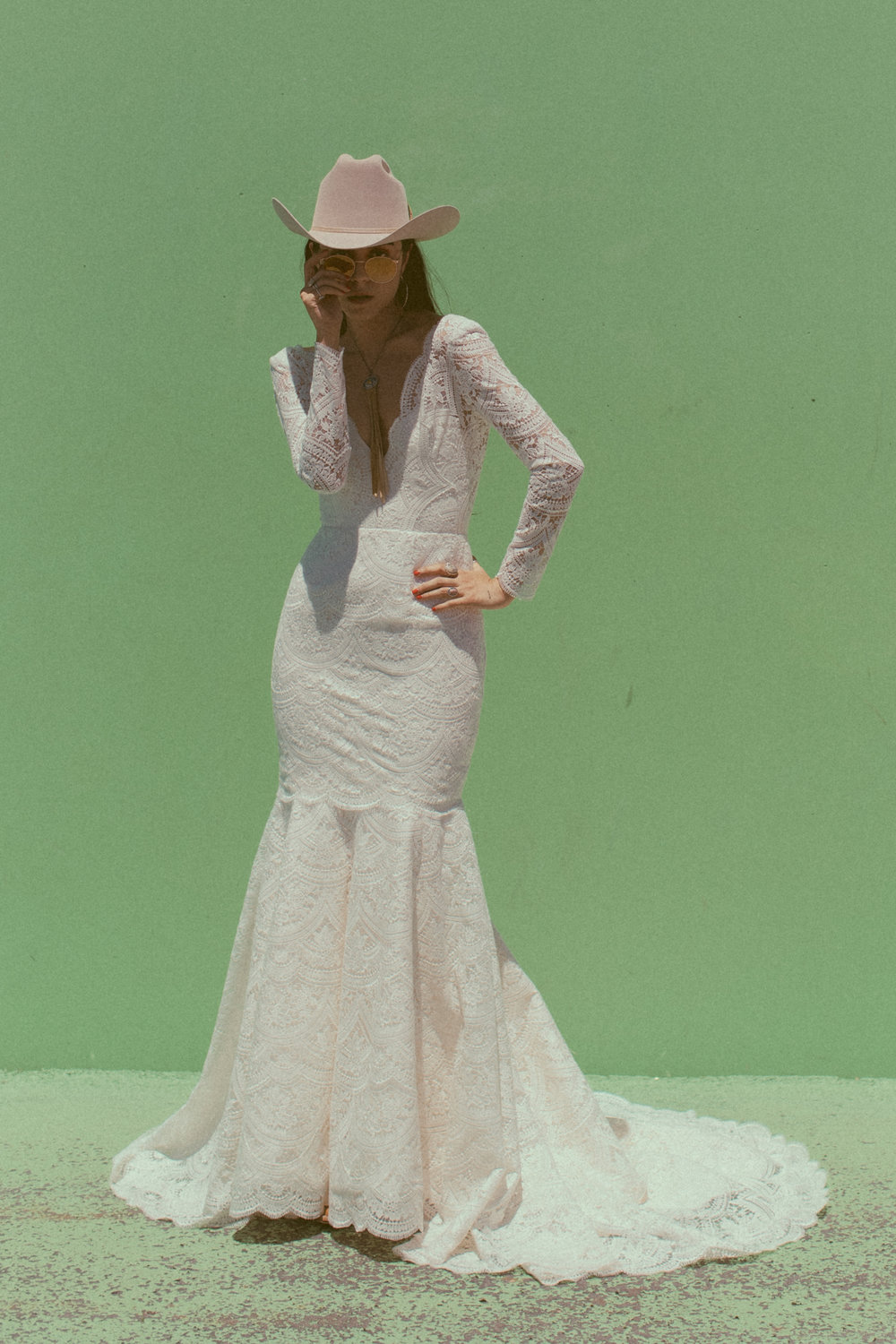 Barbara by Chantel Lauren lace trumpet fit and flare wedding gown long sleeve modern boho western stetson bride