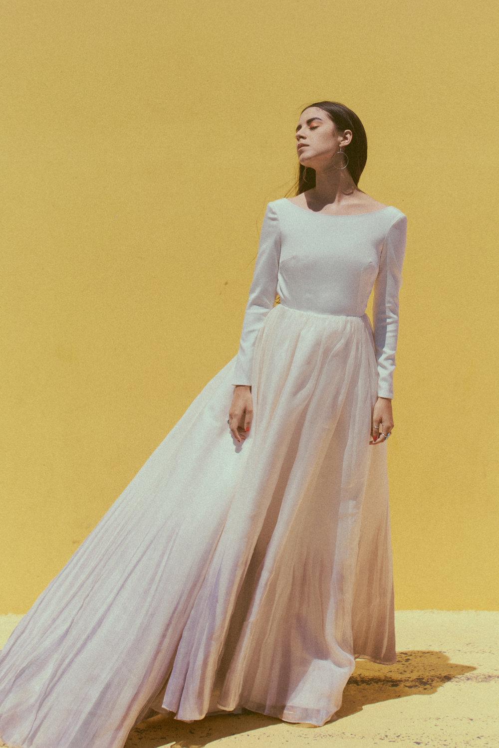 Lynn by Chantel Lauren hand painted wedding gown silk satin organza a line modern long sleeve crepe