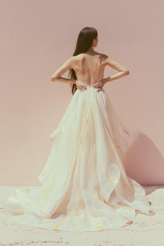 Jolene by Chantel Lauren hand painted wedding gown gold ivory purple lavender ruffle skirt organza silk western boho modern