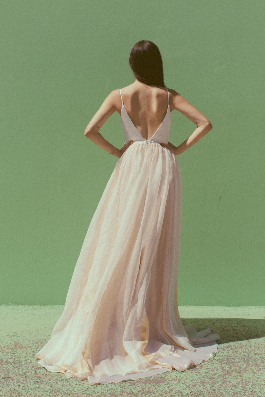 Parton by Chantel Lauren hand painted wedding gown gold dusty blue silk boho modern western bride