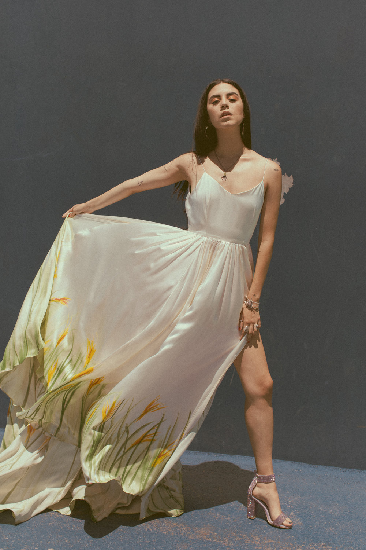 Avie by Chantel Lauren hand painted wedding gown slit floral modern boho bride western flowy