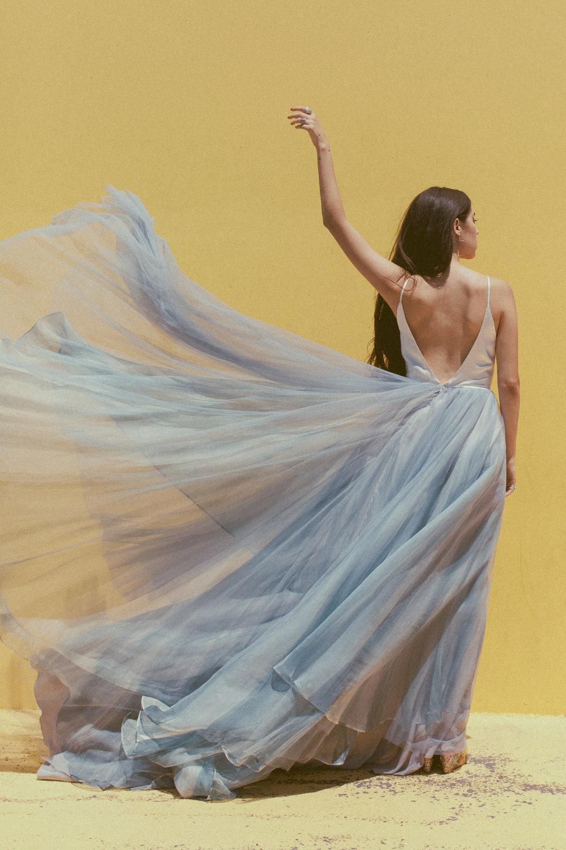 Mae by Chantel Lauren Hand painted wedding gown dusty blue blue wedding gown tulle moody boho modern western bride a line flowy