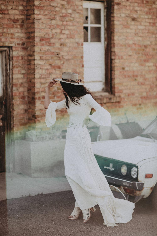 Odessa by Chantel Lauren Wedding Gown Bell Sleeve Crepe