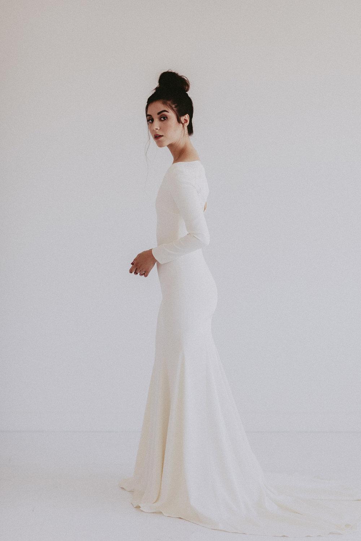 Dallas by Chantel Lauren crepe fringe wedding gown western boho
