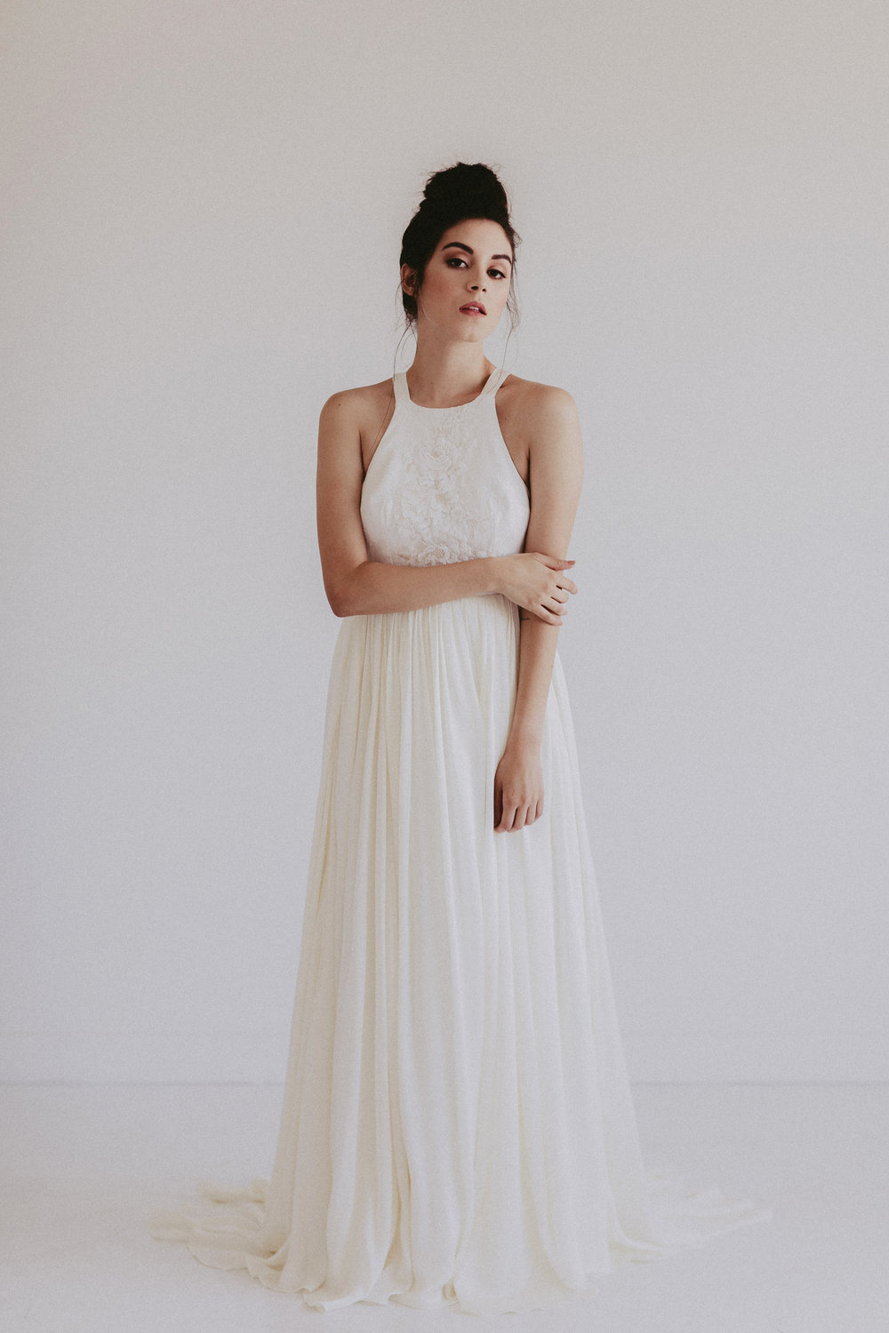 Austin by Chantel Lauren chiffon silk wedding gown flowy boho western