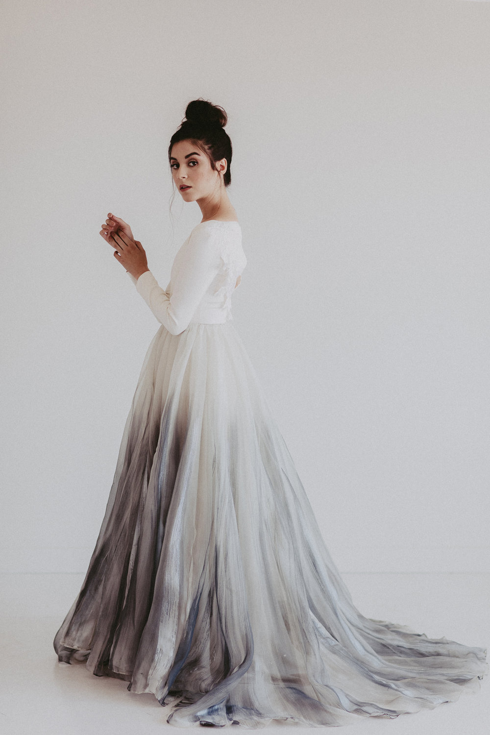 Brindle hand painted skirt by Chantel Lauren wedding gown bride