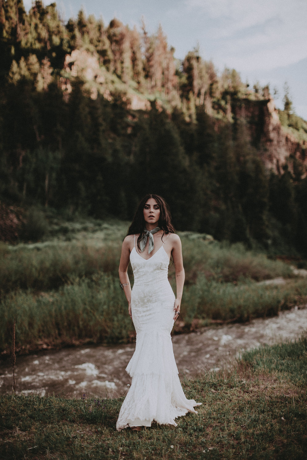 Abilene by Chantel Lauren lace wedding gown fitted boho western bride