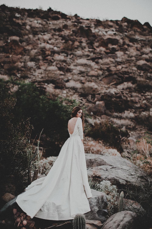 Loretta by Chantel Lauren satin crepe A line wedding gown modern boho bride