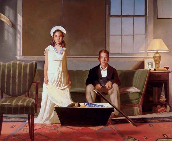 """The Box"",  2002, Oil on Linen, 82 x 100           [Painting by  Bo Bartlett ]"