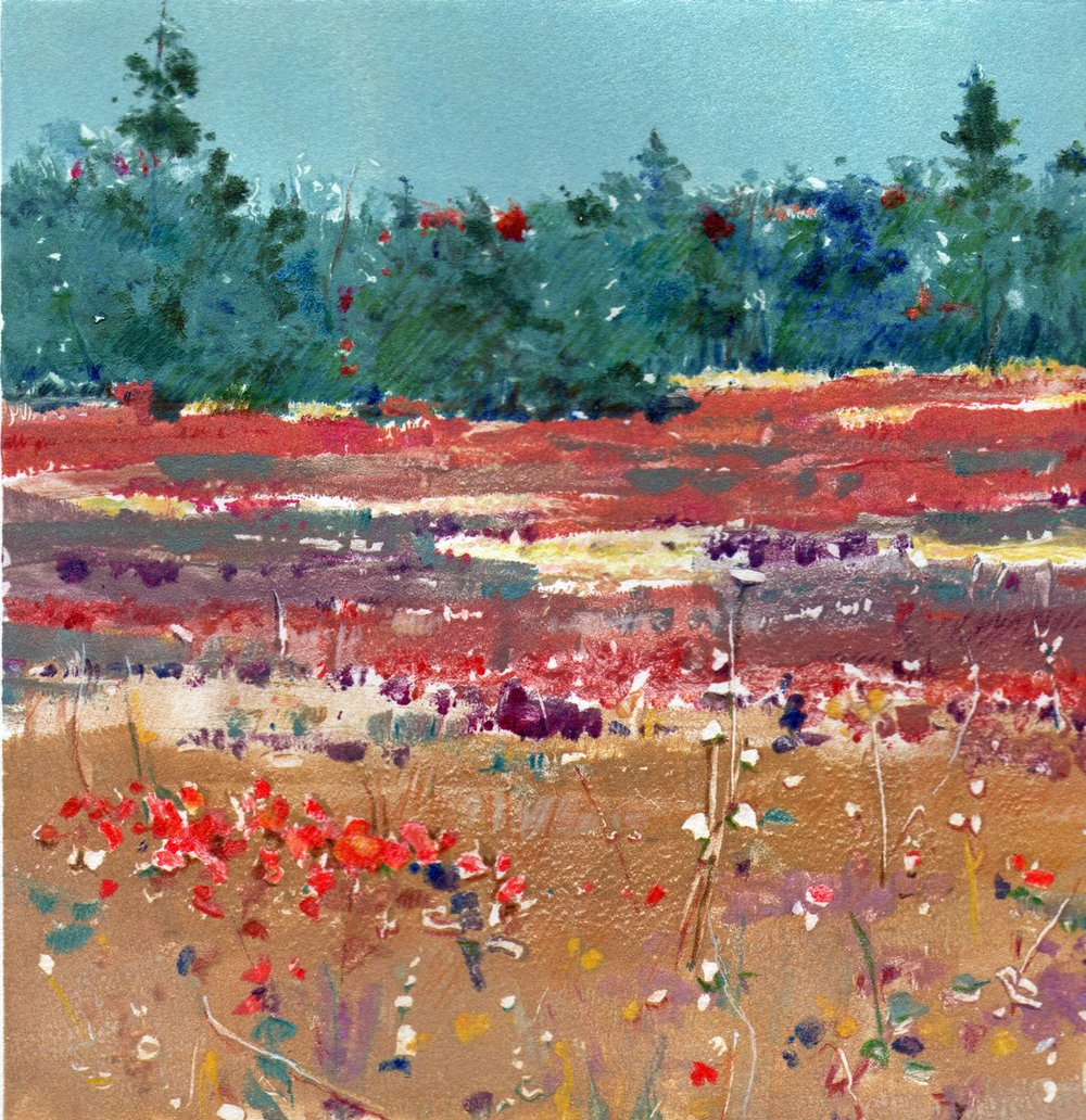 "Pictured above is ""October Meadow,"" an 18x18 framed oil monotype, which is still available at the gallery!"