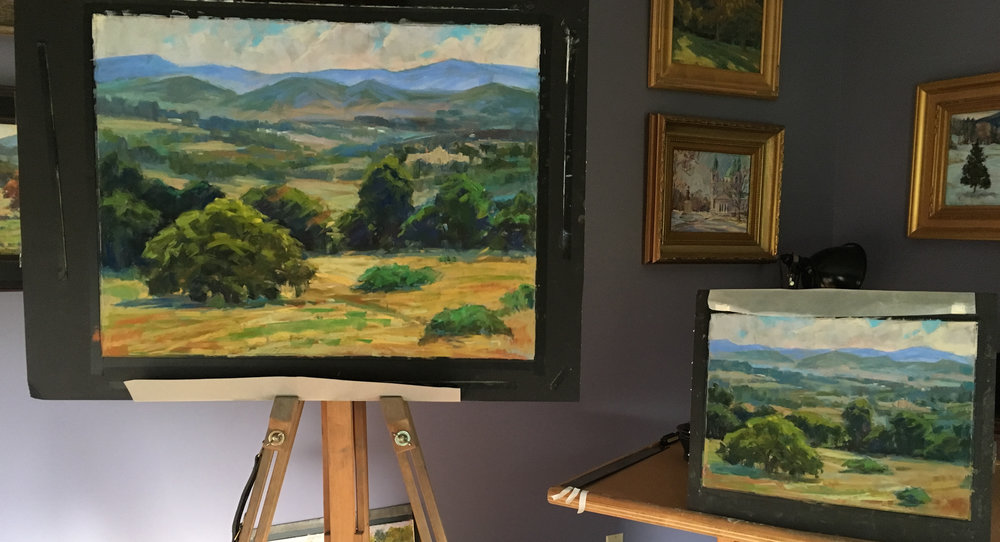 Plein air and studio paintings of The View Towards VMI