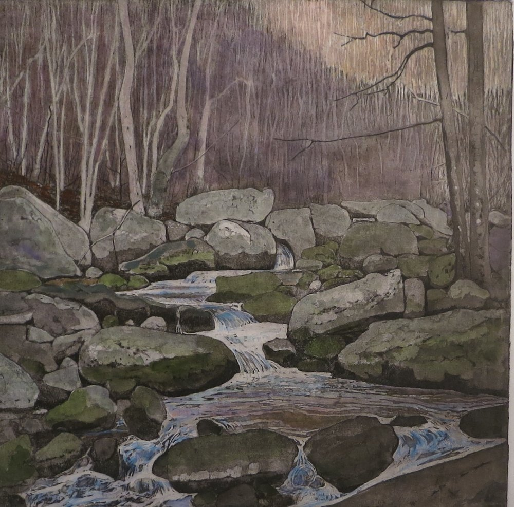 """Headwater"" etching - plate size 12""x12"""