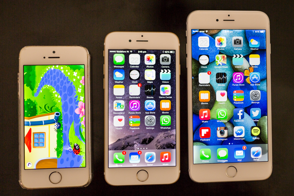 From right: iPhone 5S, 6 and 6 Plus