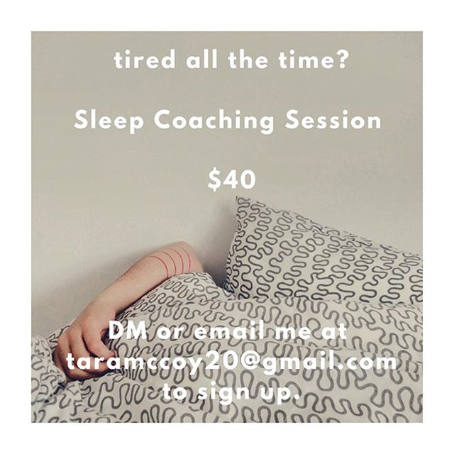 "Excited to roll out a new stand alone coaching session : 1 hour sleep strategy sessions 😴 for $40 . Acclaimed sleep researcher Matthew Walker calls sleep the 'Swiss Army Knife of Health"" as it impacts every brain and bodily function. . Sleep is the most powerful lever for cultivating mental and physical wellbeing. For most people, developing a personalized sleep practice can be life changing. . In your sleep coaching session, we'll take an inventory of your current habits and create powerful AM and PM routines that will optimize your circadian rhythms and ensure you start to get the best sleep of your life. 🧘‍♀️🛏 . Dm or email me at taramccoy20@gmail.com to get on my schedule ✨"