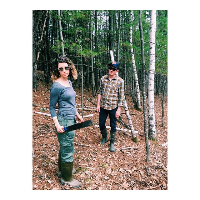 Just another day of wedding planning with Pete and Steph 🌲🌿 #trailbuilding #fierce #perfectmatch #machete