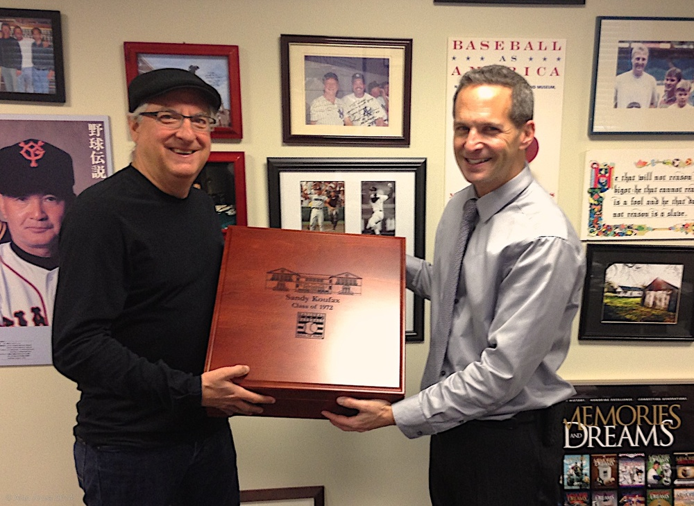 Alan presents the first completed box, engraved for Sandy Koufax, to Hall of Fame President Jeff Idelson.