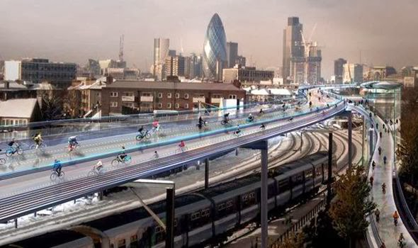 Foster and Partners vision for segregated cycling in London
