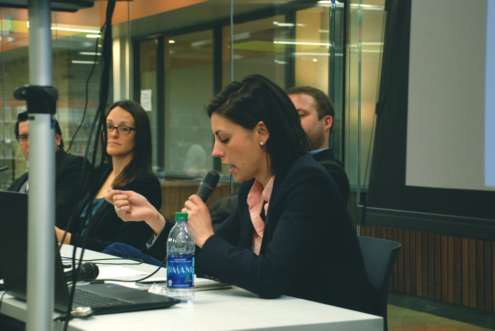 Christine Nannicelli answers a question during the Q&A session