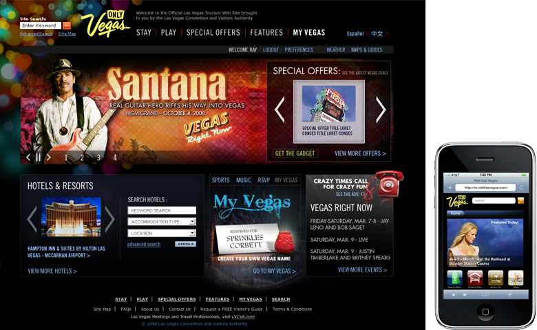 lasvegas.com – website redesign & 1st mobile site