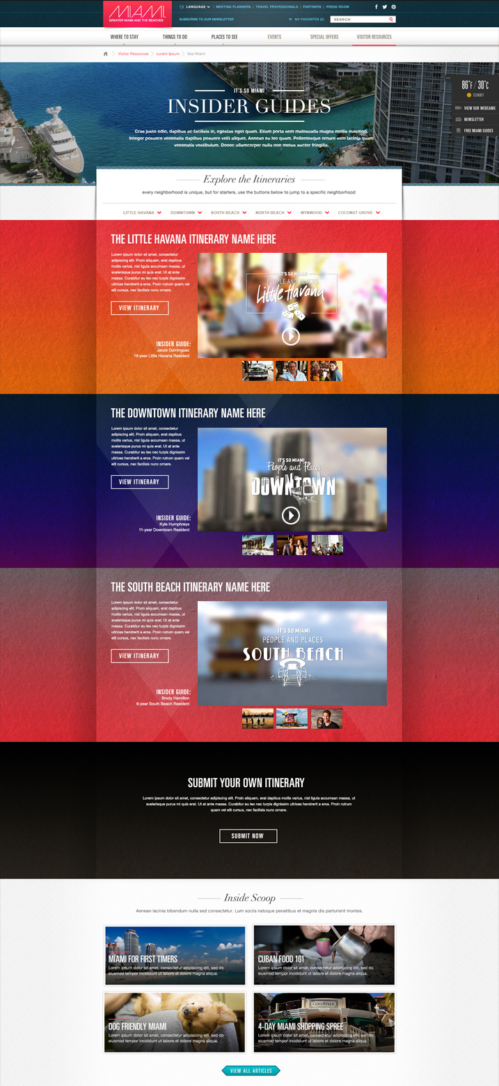It's So Miami Campaign (in progress) – Original site concept